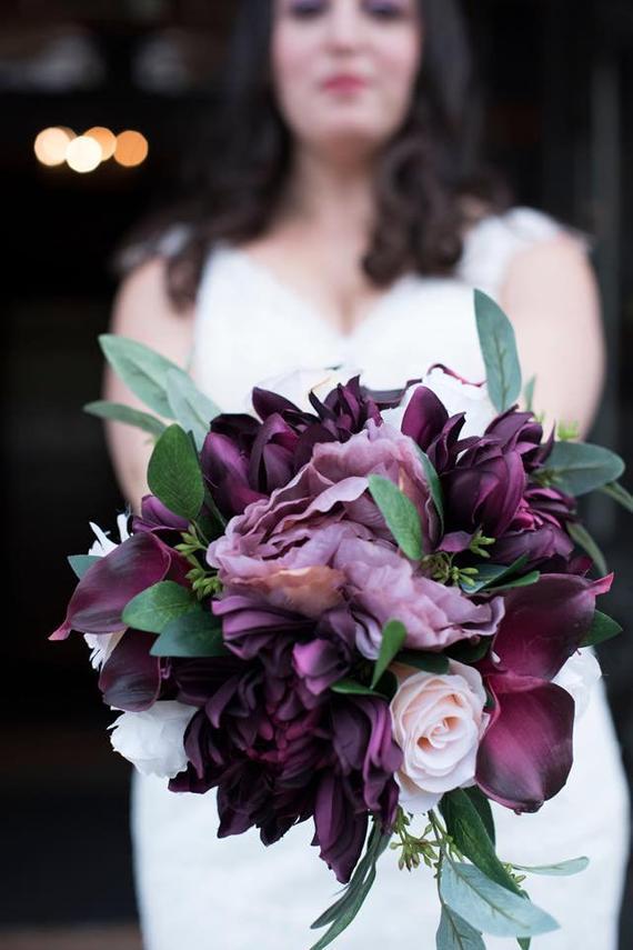 Custom order Bridal bouquet, Plum/Blush/ Mauve bouquet, Dahlia, Rose, Calla Lily, and Peony Bridesmaid bouquet, Silk Bouquet