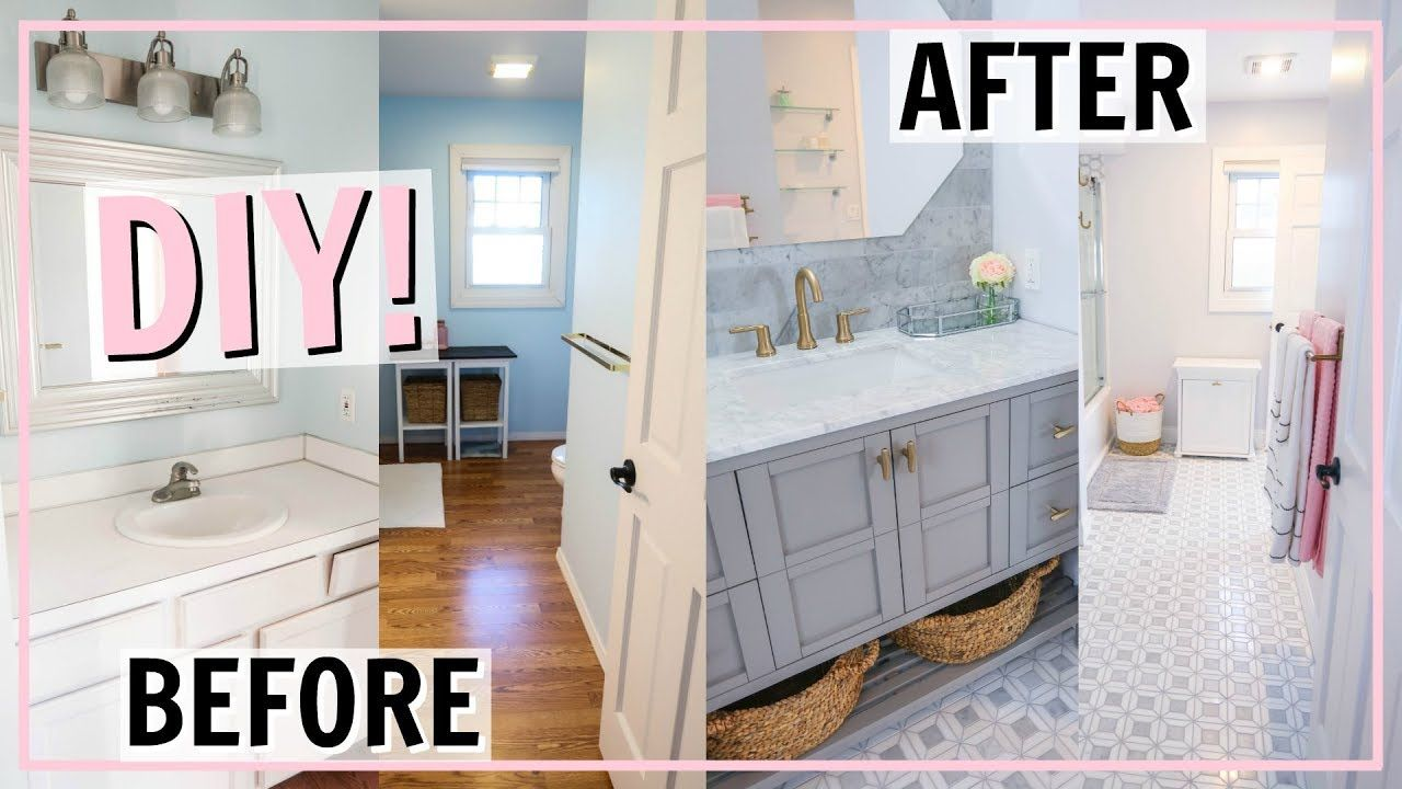 Diy Bathroom Transformation Incredible Before And After Makeover Alexandra Beuter You Diy Bathroom Remodel Bathroom Renovation Diy Cheap Bathroom Makeover