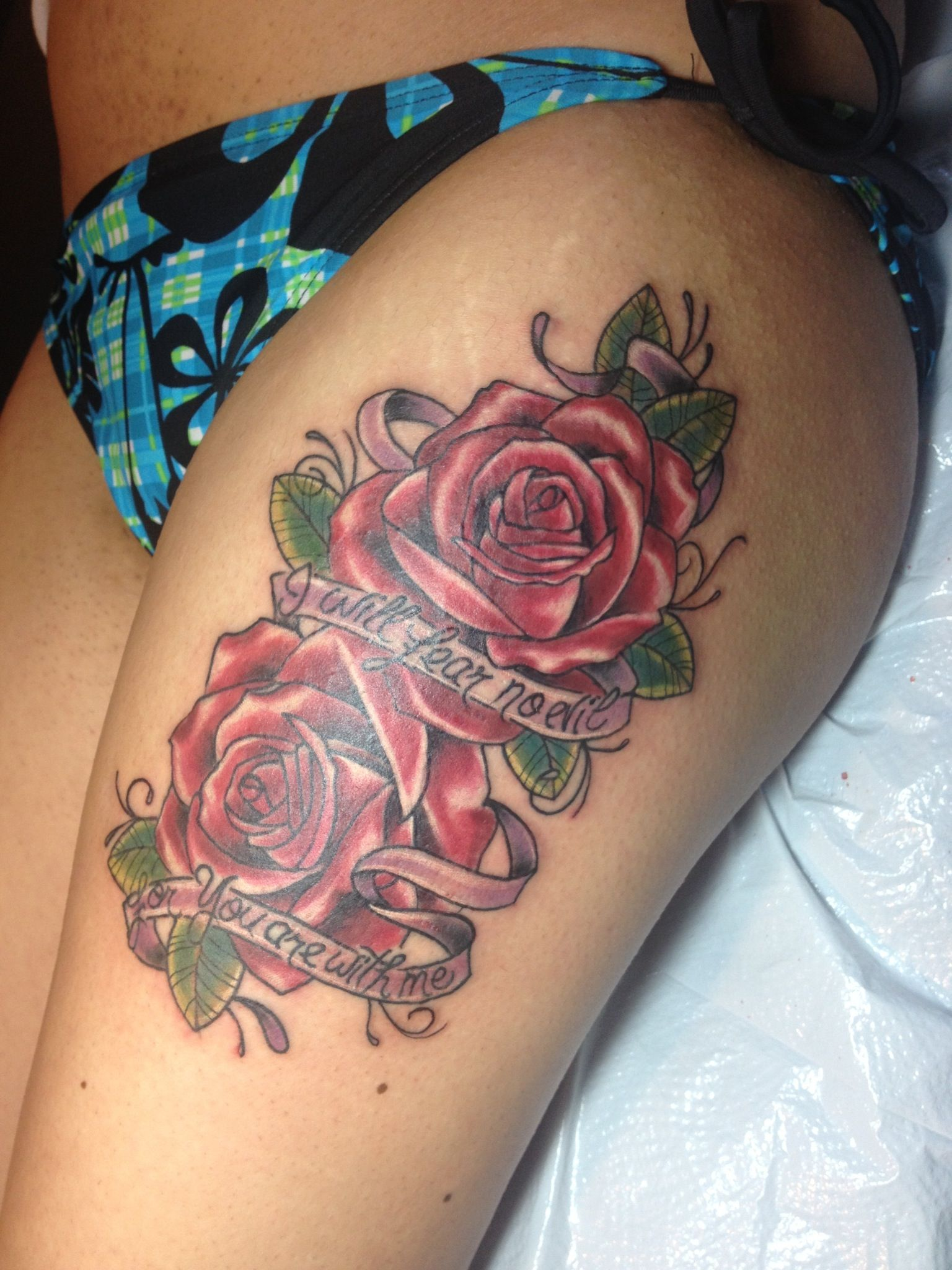 """Thigh tattoo """"I will fear no evil for You are with me"""