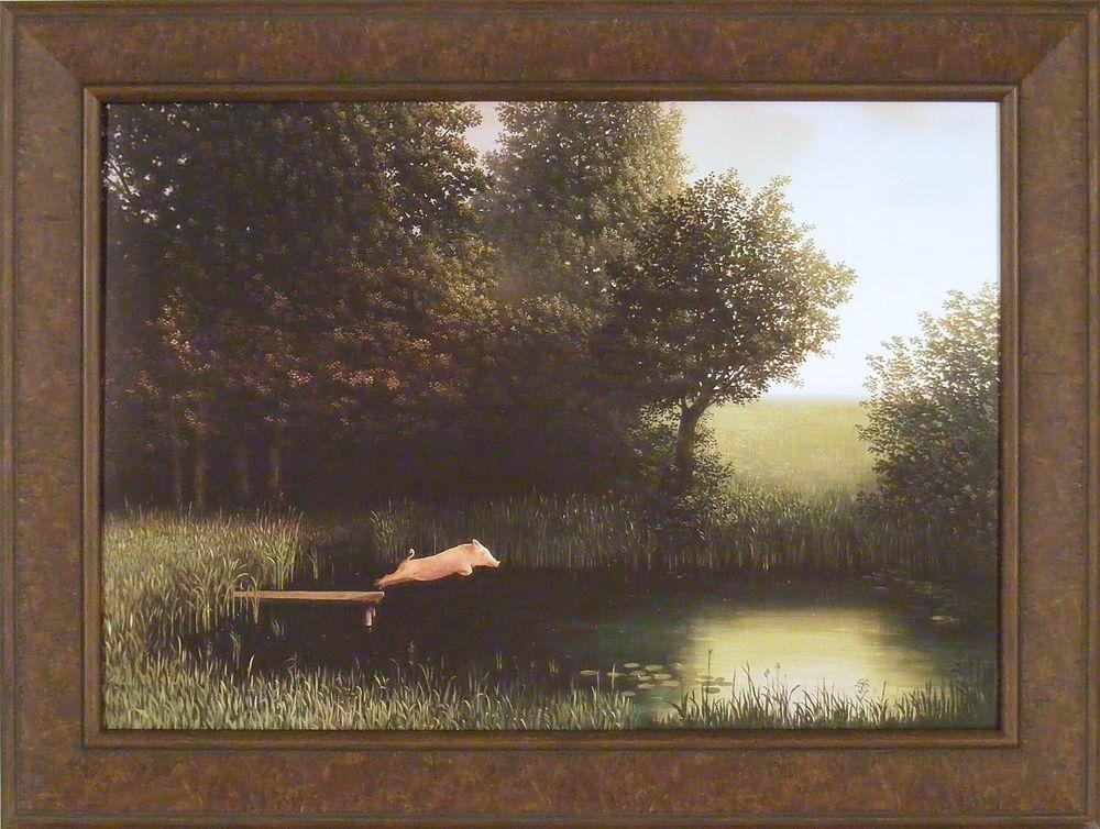 WHEN PIGS FLY Diving Pig ART PRINT Kohler/'s Pig Poster by Michael Sowa pig art