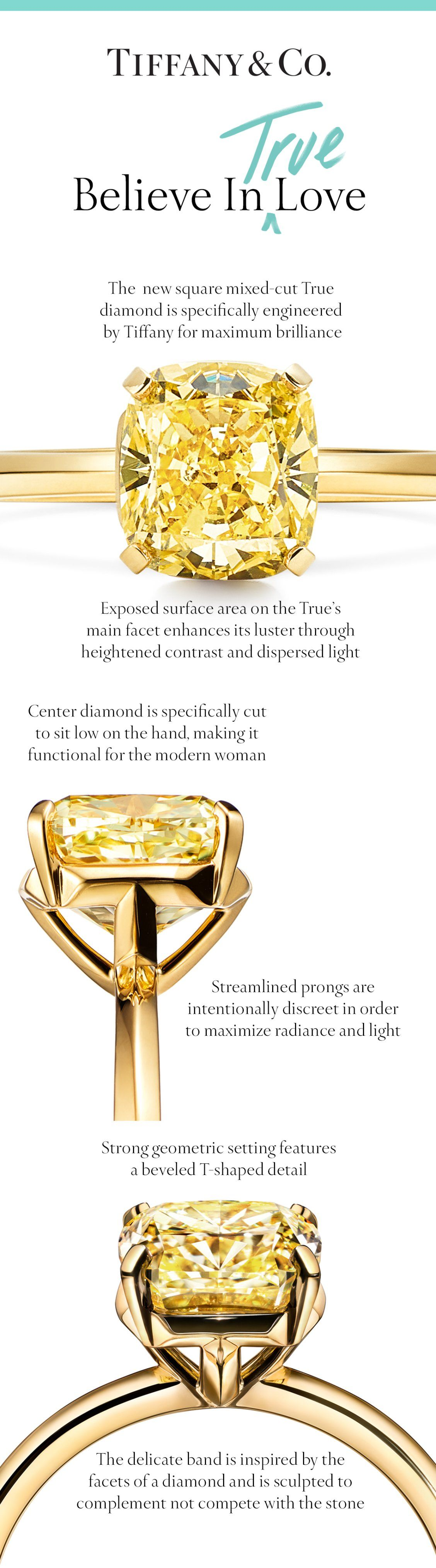 dad8d6a711ce0d Introducing Tiffany True—our first new engagement ring design in nearly a  decade, in 18k gold with a fancy yellow cushion modified brilliant diamond.