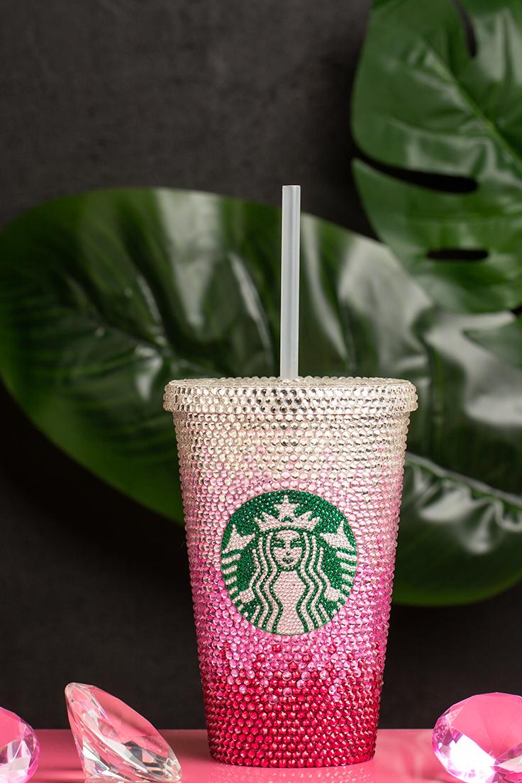 Personalized Starbucks Tumbler Custom Bling Starbucks Cup Glitter Tumbler With Straw Swarovski Crystal Valentines Gifts Em 2020 M I A
