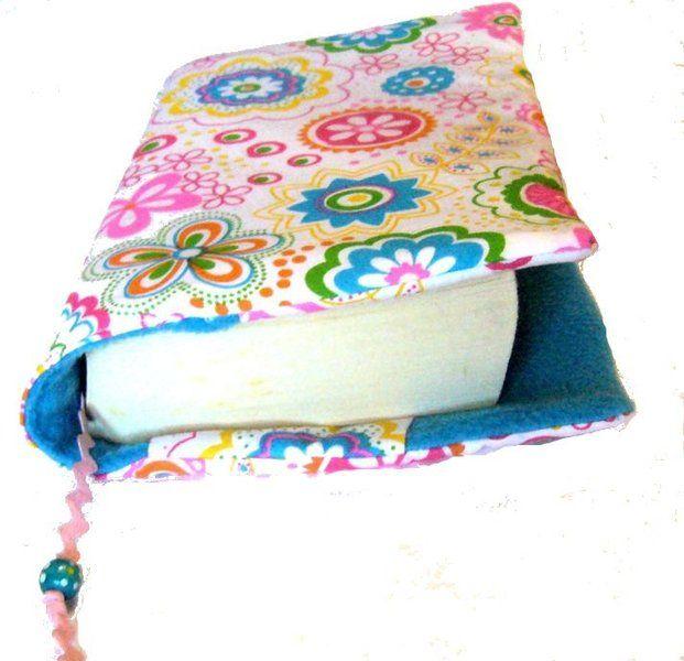 """*♥Buchhülle Retroblumen bunt + Lesezeichen♥ verstellbar*    Da ist das Lieblingsbuch wirklich """"bunt aufgehübscht"""" Retroblumen bunt mit Lesezeichen ros"""