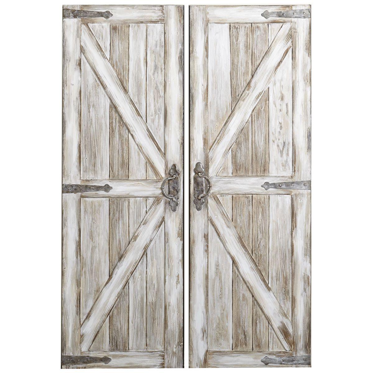 Antique White Rustic Barn Doors Art Pier 1 Imports Rustic Barn Door Rustic Doors Wood Doors Interior