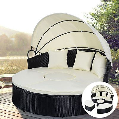 Daybed Patio Sofa Furniture Round Retractable Canopy Wicker Rattan