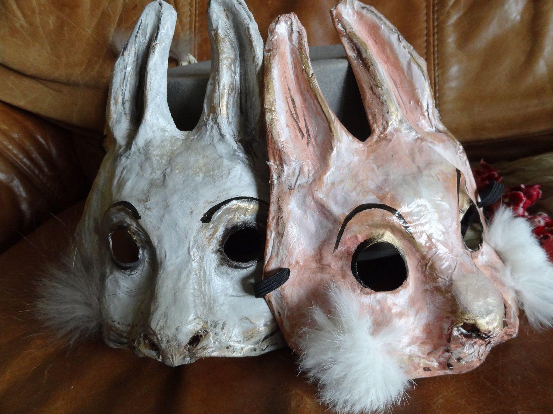 Paper mache rabbit mask Halloween animal masks Rabbit Goat ...