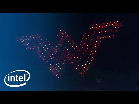 (121) Wonder Woman Drone Light Show | Intel - YouTube