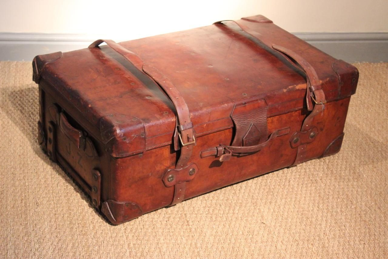 b2fb132fe Large 19th century Hill & Millard leather Suitcase, with a lovely colour  and retaining the original label.