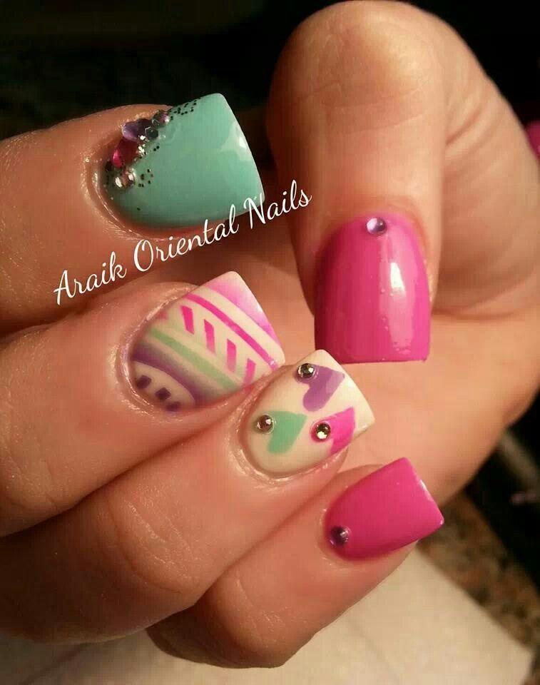 Pink green purple girly nails
