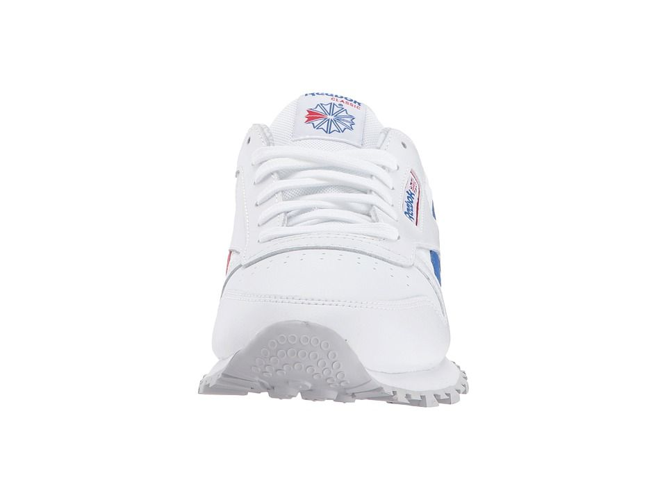 625a4e0318a Reebok Kids Classic Leather Switch Out (Big Kid) Kids Shoes White Vital Blue  Primal Red Light Solid Grey