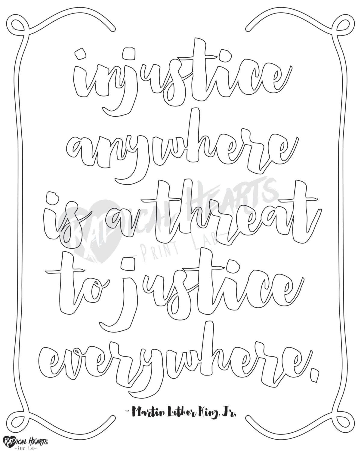 Social Justice Printable Coloring Page Mlk By