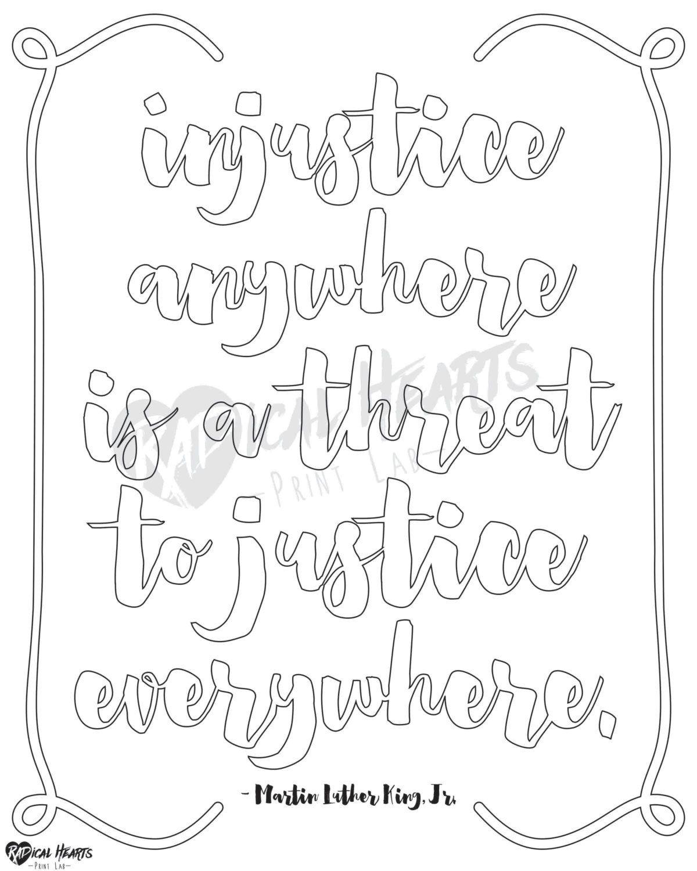 social justice printable coloring page mlk by radheartsprintlab