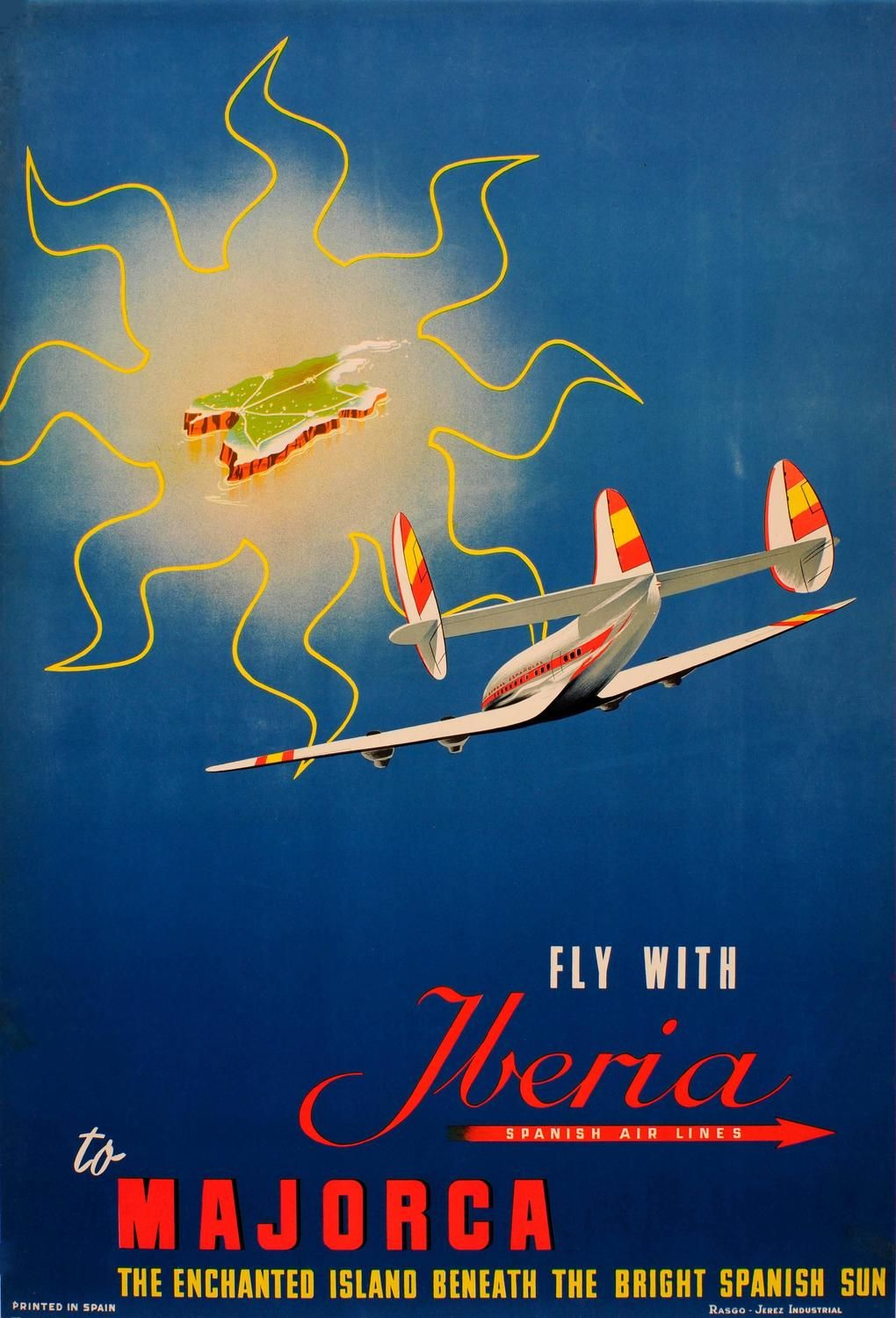 Original Vintage Travel Poster - Fly Iberia Spanish Air