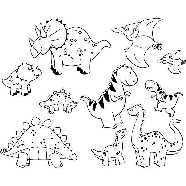 dibujo para imprimir y colorear con muchos dinosaurios diferentes ...