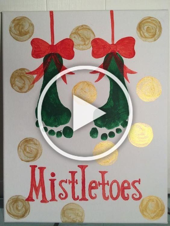 Mistletoes footprint art #mistletoesfootprintcraft