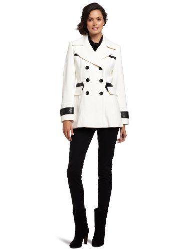 Via Spiga Women's Pea Coat with Faux Leather Trim, Winter White, 6 ...