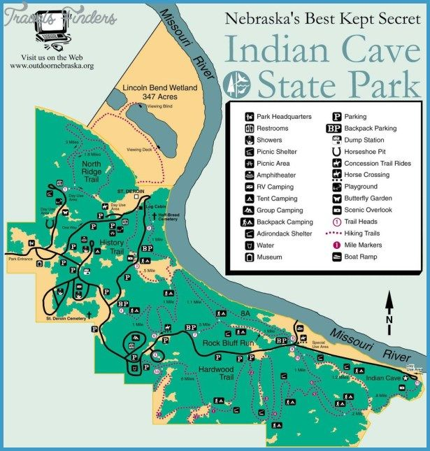 INDIAN CAVE STATE PARK MAP NEBRASKA Httptravelsfinderscom - Nebraska state map