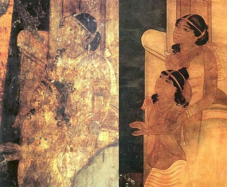 Ajanta Caves, India - A detail: original left, copy by Lady Herringham (1915) right