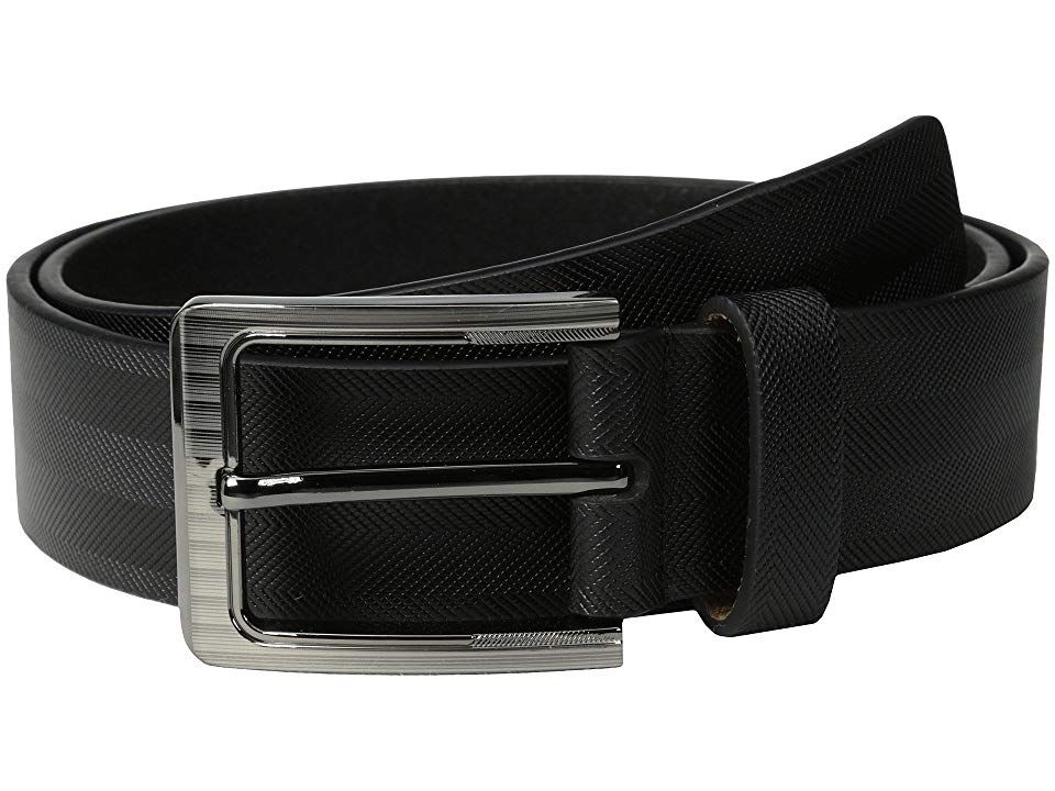 Stacy Adams 38mm Genuine Leather with Herringbone Design (Black) Men's Belts. Top things off with this polished Stacy Adams belt. Constructed from genuine leather. Single prong buckle. Single belt loop. Imported. Measurements: Width: 1 1 2 in First Hole Length: 34 in Last Hole Length: 38 in Weight: 5.8 oz Product measurements were taken using size 38. Please note that measurements may vary by size.