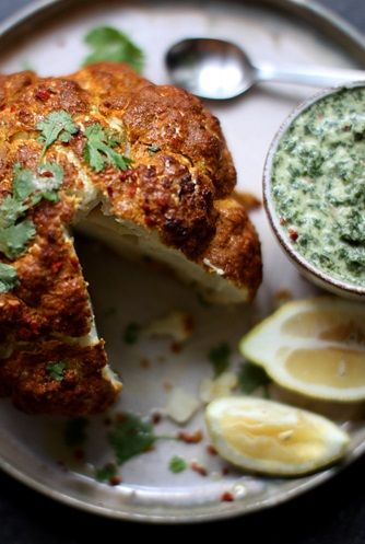"TANDOORI"" ROASTED WHOLE CAULIFLOWER with MINT CHUTNEY ~~~ really ..."