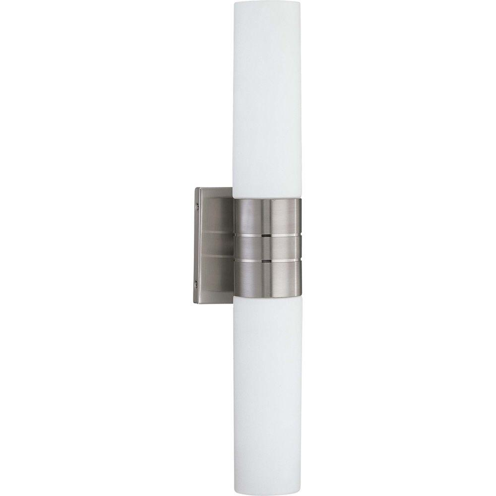 Glomar Loreley 2 Light Brushed Nickel Sconce With White Glass Hd