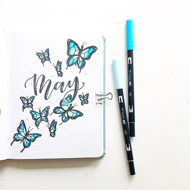 "Tombow USA on Instagram: ""Such a pretty journal spread inspired by @amandarachlee! Raise your hand if you love butterflies! �⁣ .⁣ .⁣ �: @raelynns.artandbujo⁣ .⁣ .⁣…"""