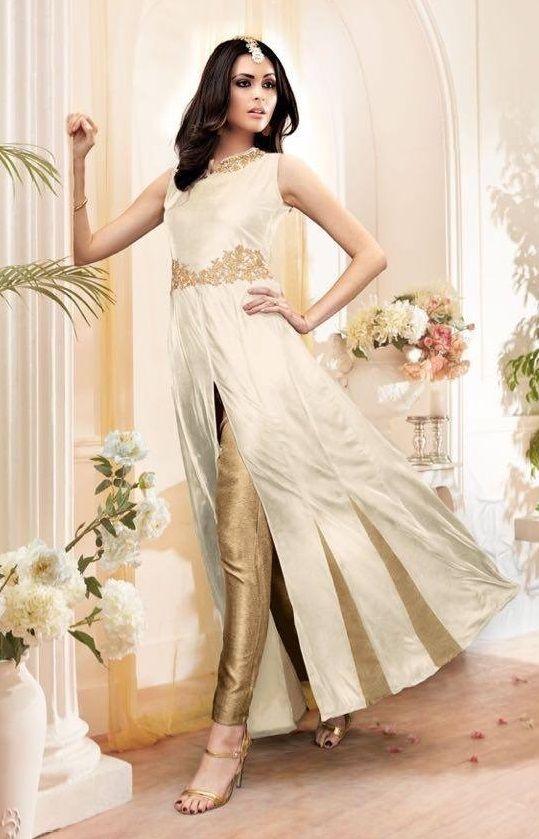 Price @2895.00 INR  Colour : White and Golden  Top : Georgette With Santoon Inner  Bottom : Banarasi Broket  Dupatta : Chiffon  Work : Heavy Embroidery