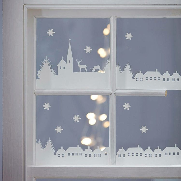 Fensterbilder zu weihnachten dorf aus transparentpapier ausschneiden advent pinterest - Fensterbilder weihnachten ...