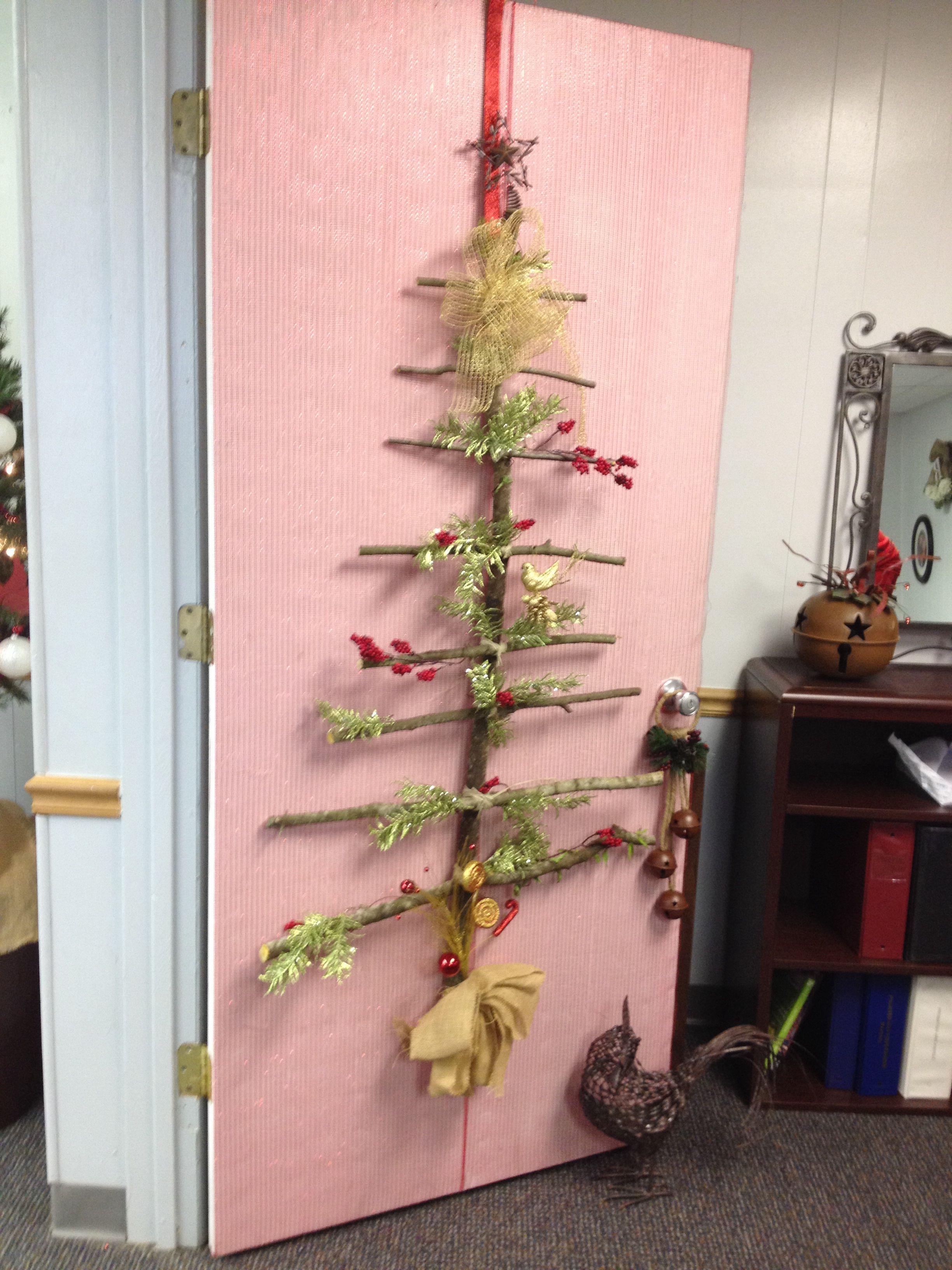 Office door decoration contest Christmas Tree 2013