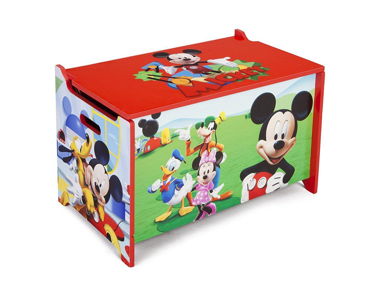 Stabile Spielzeugkiste aus Holz mit buntem Mickey Mouse