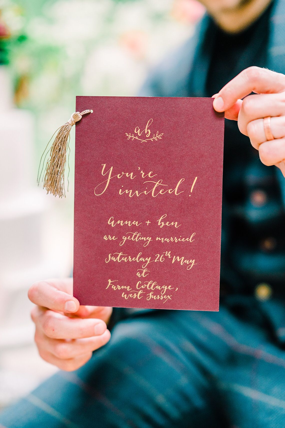 Luxury berry calligraphy wedding invitation Calligraphy