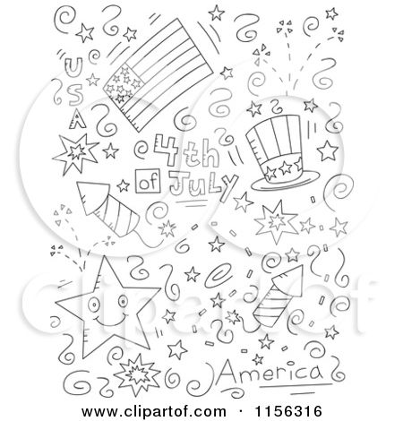 Cartoon Clipart Of A Black And White Collage Of Fourth Of July Doodles Vector Outlined Coloring Page By Simple Doodles Coloring Pages Coloring Pages For Kids
