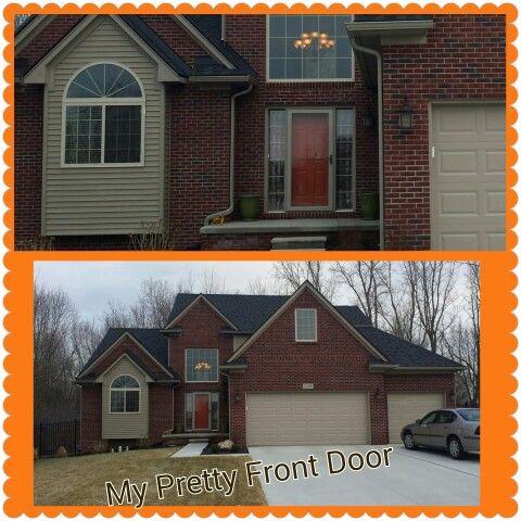 Exterior House Colors With Orange Brick burnt orange front door | painted door with red brick | pinterest