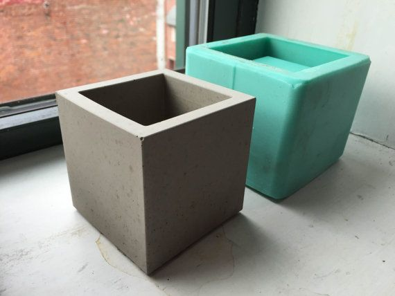 Cube planter mold silicone mold 3 inch size diy for Concrete craft molds