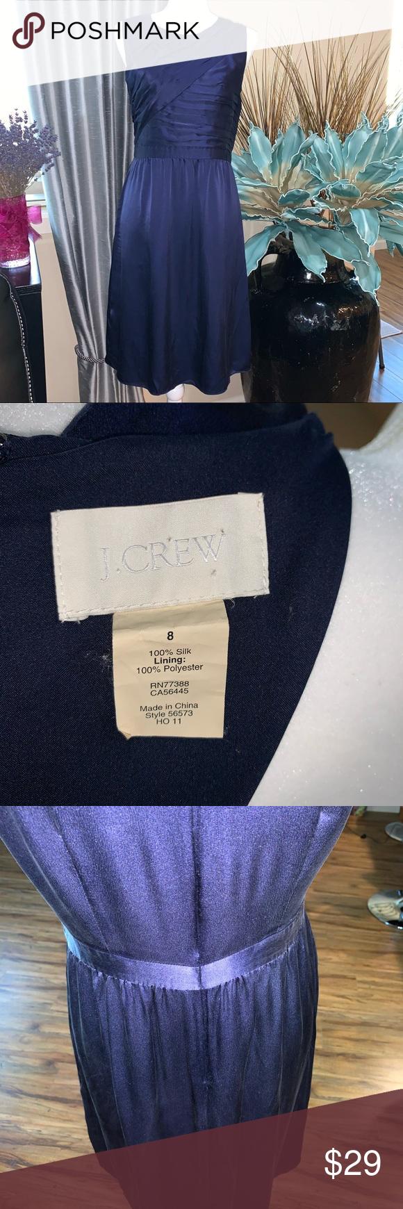 J.Crew 100% silk dark blue dress.