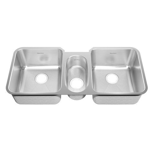 Triple Bowl Kitchen Sinks American standard 16tb411900073 prevoir 41 inch stainless steel american standard prevoir undermount stainless steel 41 x x 9 no holes triple bowl kitchen sink in brushed stainless steel robust 18 gauge workwithnaturefo