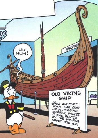 Old Viking ship, one of the last panels in this story is drawn from the viewing platform at the Viking ship museum in Oslo.