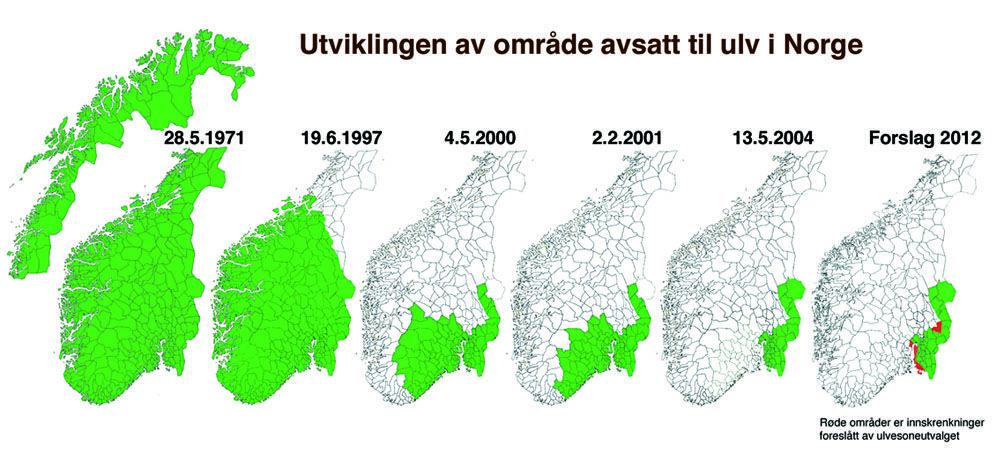 ulv i norge kart Norway: protected wolf habitat (ulvens leveområder i Norge  ulv i norge kart