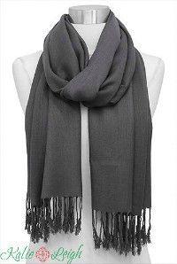 Silk Blend Pashmina Scarf in Gray