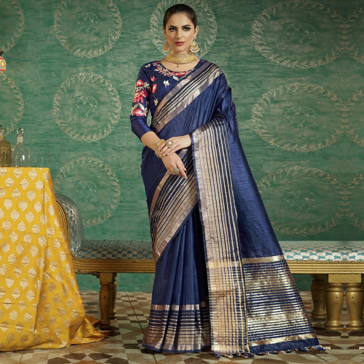 e4effdf274c4e Buy Navy Blue Colored Designer Festive Wear Zoya Silk Saree Online India