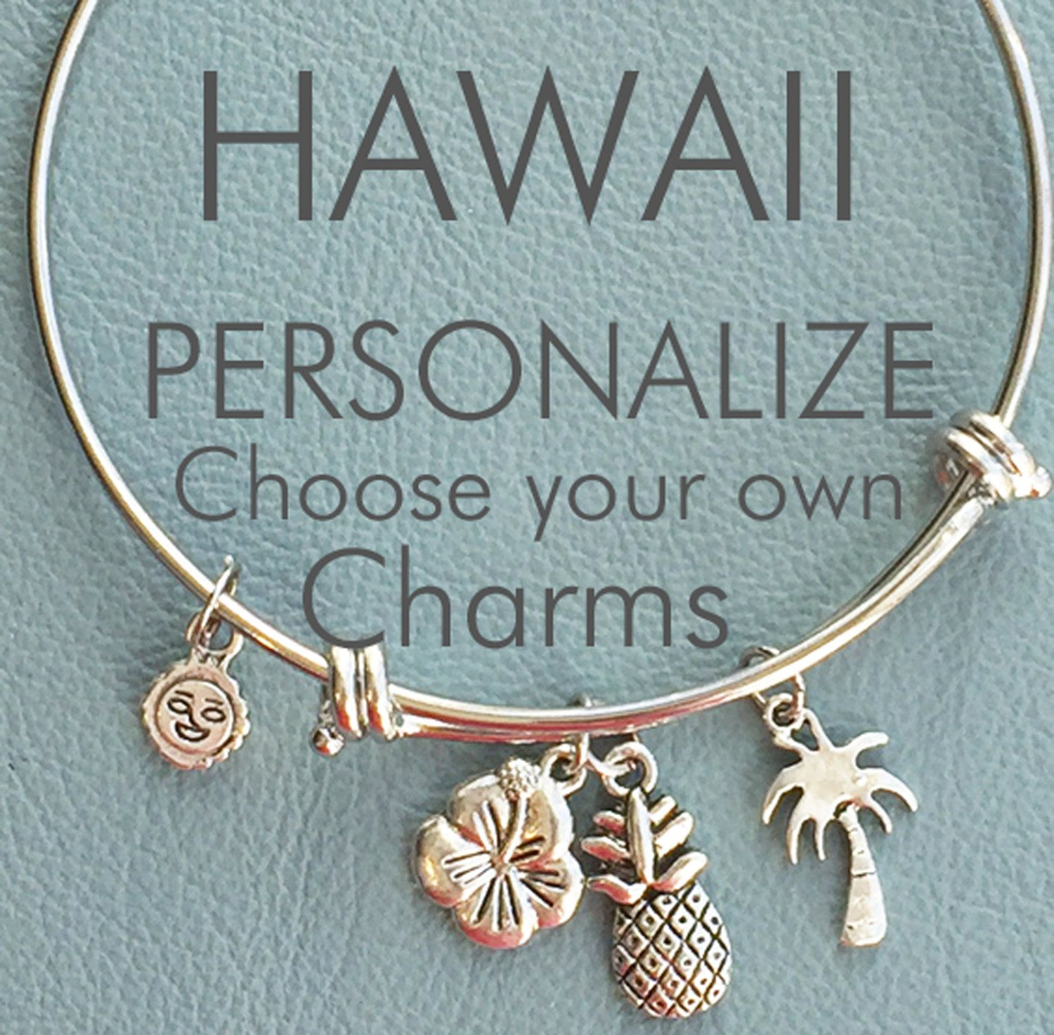 Hawaiian Vacation Customize Alex Ani Inspired Your Own Silver Bracelet Charms Personalized Gift Surfer Pinele Palm Outrigger Trip By Arrimage On