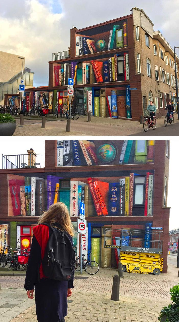 Dutch Artists Transform a Utrecht Apartment Building into a Tri-Level Trompe L'Oeil Bookcase