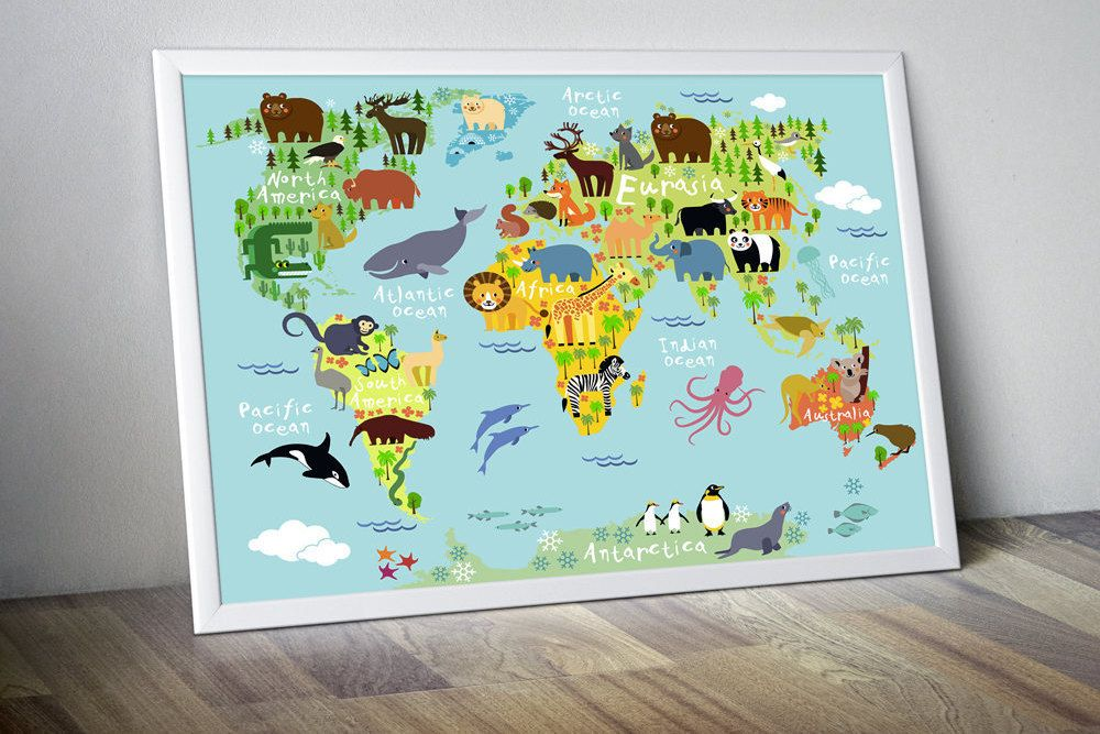 nursery world map poster #worldmapmural