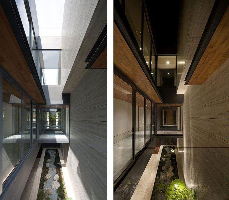 35 Modern Interior Design Ideas Incorporating Columns Into: Alley-of-Travertine-Dream-House-by-Wallflower-Architecture