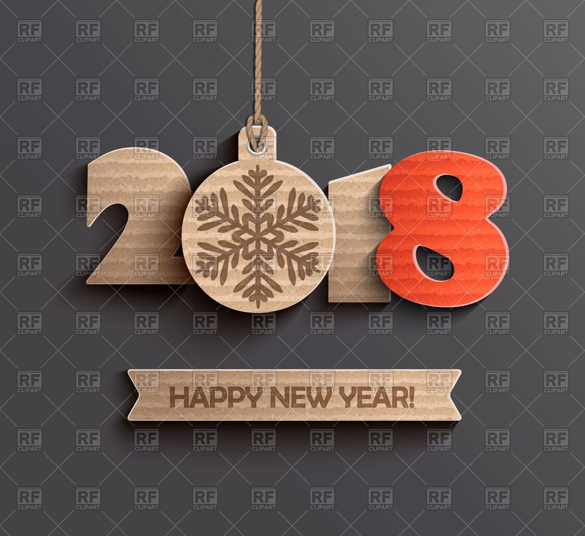 modern creative happy new year 2018 design cardboard numerals royalty free vector clip art image rfclipart