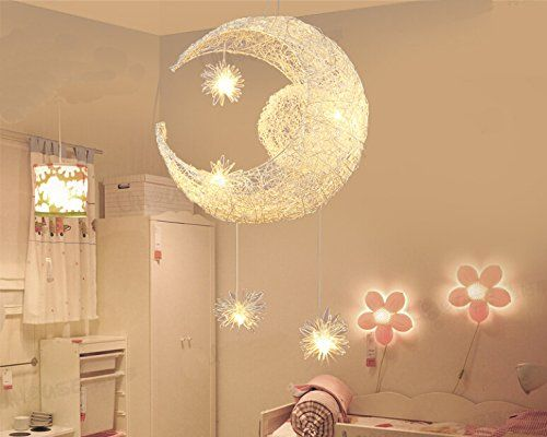 Goolight creative moon and stars children bedroom living room goolight creative moon and stars children bedroom living room ceiling light pendant hanging lamp chandelier amazon lighting aloadofball Image collections