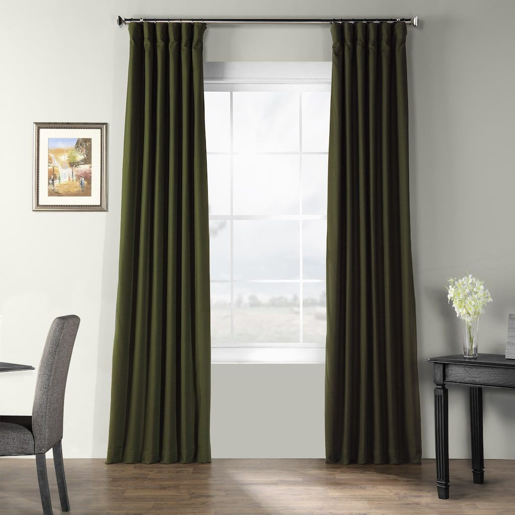 Eff Bark Weave Solid Window Curtain Green Panel Curtains