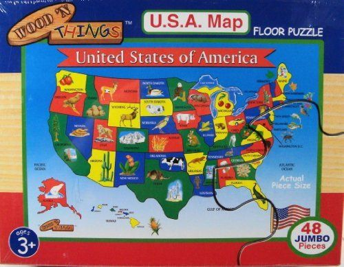 Wood N Things USA Map Floor Puzzle By Wood N Things - Large wood us map puzzle