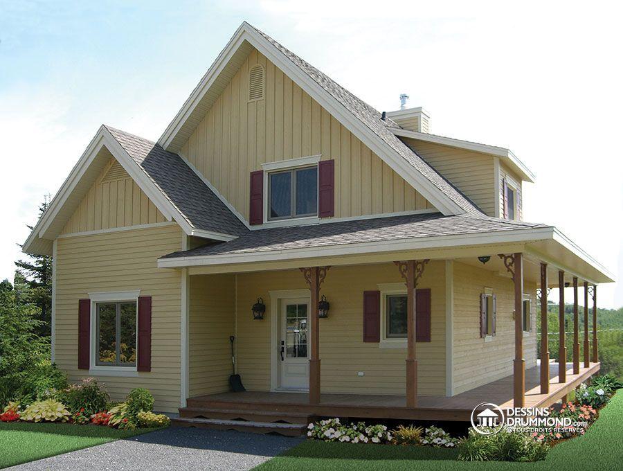 W3518 - Plan de maison champêtre avec balcon couvert sur 3 faces - site pour plan de maison