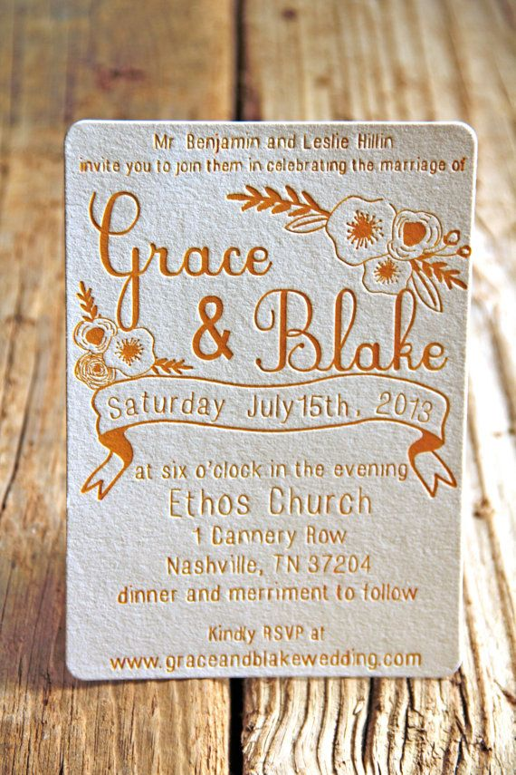 Floral Poppies And Ribbon Letterpress Wedding Invitations